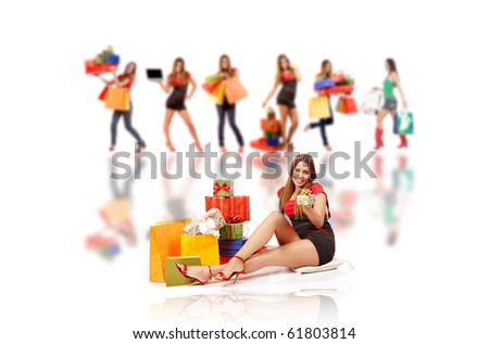 Shopping woman with gift boxes and bags . - stock photo