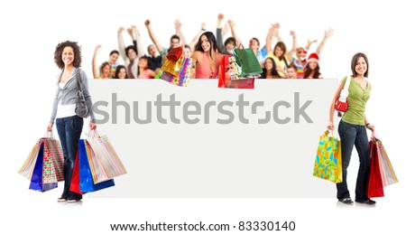 Shopping Woman with placard. Isolated over white background - stock photo