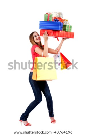 shopping woman with plenty gift box and bags. - stock photo