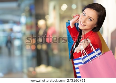 Shopping, Women, Cheerful. - stock photo