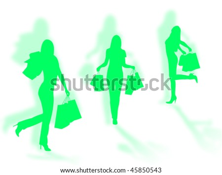 Shopping women silhouettes in different poses with shadows