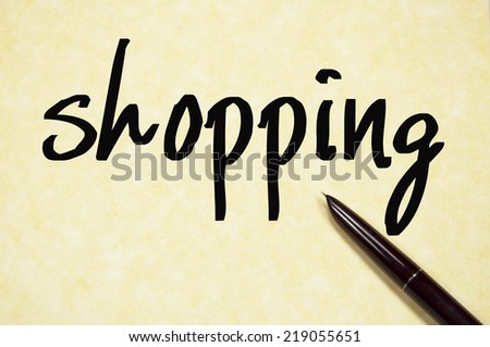 shopping word write on paper