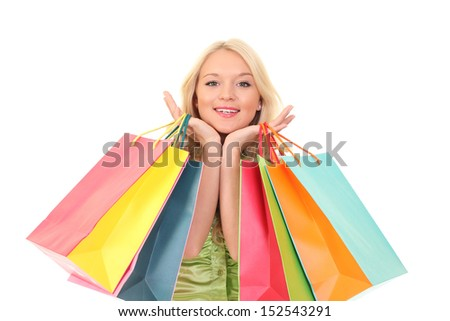 Shopping young woman with bags