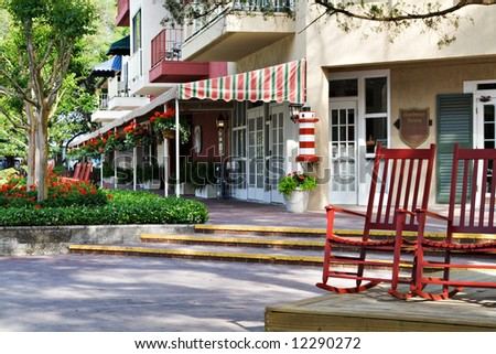 Shops along the harbor at Harbour Town, Hilton Head, SC - stock photo