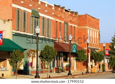 Shops and businesses on the main street of Bedford, Ohio - stock photo