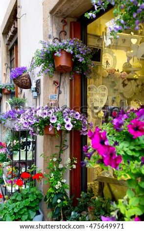 Shops in ancient village of Volterra decorated with flowers in pots, Tuscany, Italy