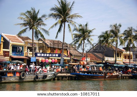 Shore and harbor of Hoi An in Vietnam - stock photo