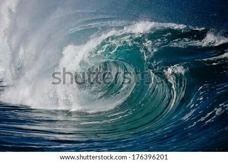 Shore Break wave on Hawaii's North Shore - stock photo