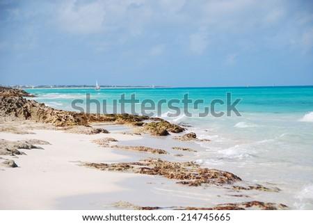 Shore of the Caribbean Sea in Cuba - stock photo