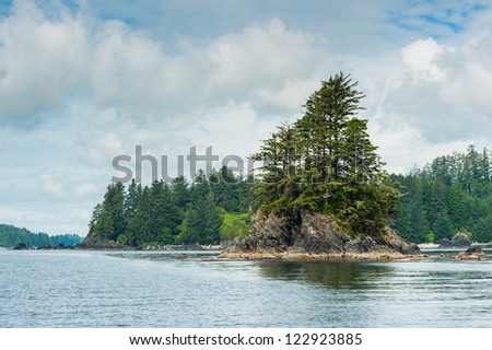 Shore with small island of Vancouver Island, British Columbia, Canada - stock photo