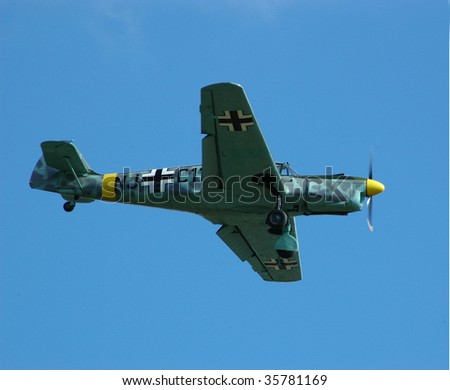 SHOREHAM - SEPTEMBER 16: Nord Pingouin, a French built Messerschmitt 108, in flight at the RAFA Airshow September 16, 2007, Shoreham, UK