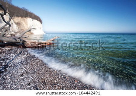 shoreline at beach, waves, beach