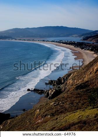 Shoreline at Stinson Beach, CA - stock photo