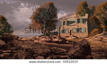 Shoreline Cottage With Sailboat - stock photo