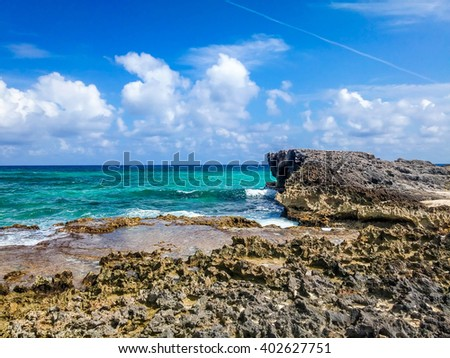 Shoreline in Cozumel island, Mexico - stock photo
