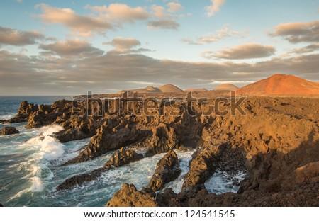 Shoreline near Timanfaya National Park in Lanzarote, Canary Islands, Spain - stock photo