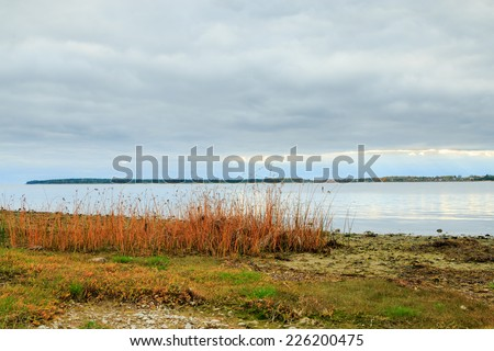 Shoreline, ocean and cloudscape on Gotland, Sweden - stock photo