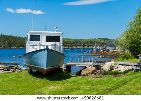 Shoreline scene along the Nova Scotia coast. - stock photo