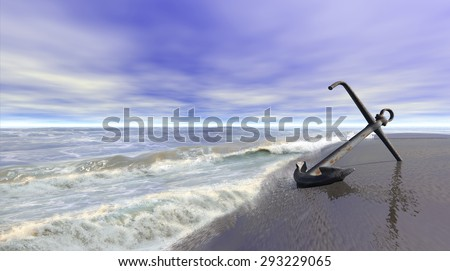 Shoreline scene with an old rusty anchor on wet sand. 3d illustration. - stock photo