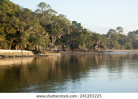 Shoreline, sky and water - stock photo
