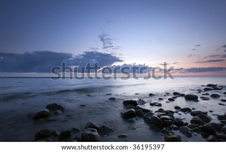 Shoreline, Swedish coast. Wide angle photo. - stock photo