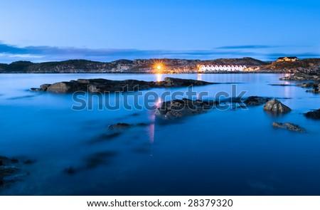 Shoreline West of Bergen in Norway in the evening - stock photo