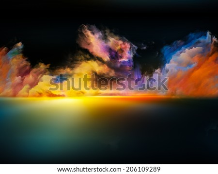Shores of Neverland series. Interplay of colors and gradients on the subject of art, creativity, imagination and design - stock photo