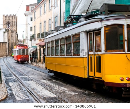 Short and quick trams in Lisbon, Portugal.