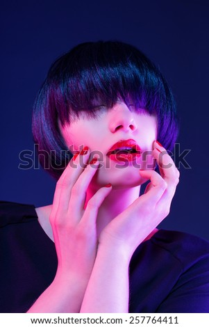 short bob hairstyle in studio background - focus on the lips - stock photo