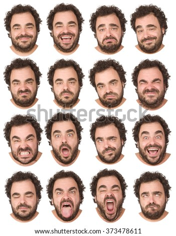 short curly hair and beard brunette adult caucasian man collection set of face expression like happy, sad, angry, surprise, yawn isolated on white