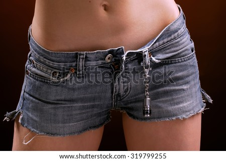 Short denim shorts on girl close