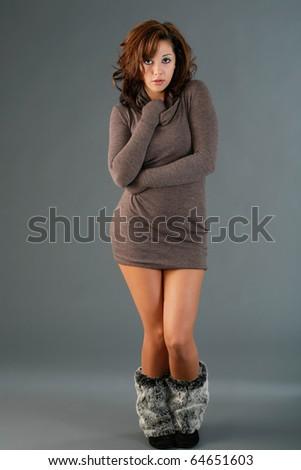 Short dress long sleeves - stock photo
