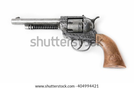 Short gun engraving The guns of the South, where the military is seen generally on white background. - stock photo