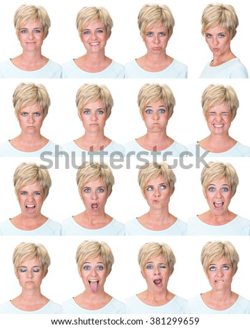 short hair blonde adult casual caucasian woman collection set of face expression like happy, sad, angry, surprise, yawn isolated on white - stock photo