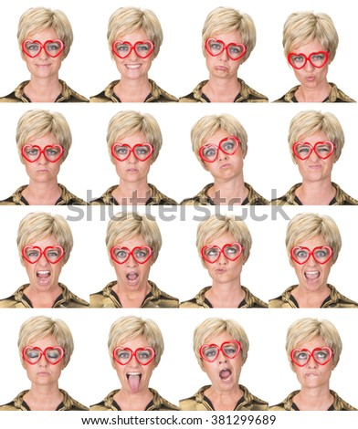 short hair blonde adult casual caucasian woman with glasses collection set of face expression like happy, sad, angry, surprise, yawn isolated on white - stock photo