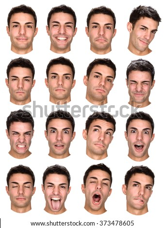 short hair brunette caucasian man collection set of face expression like happy, sad, angry, surprise, yawn isolated on white - stock photo