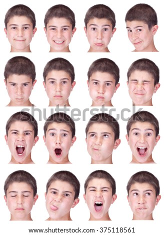 short hair brunette kid caucasian boy collection set of face expression like happy, sad, angry, surprise, yawn isolated on white