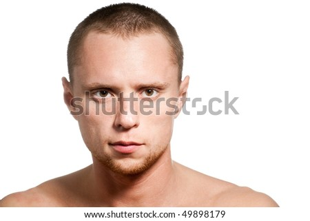 short hair close-up man isolated on white - stock photo