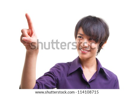 Short hair cool Asian female pointing to empty space, ready for text. - stock photo