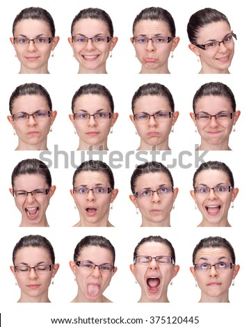 short hair glasses earrings young caucasian woman collection set of face expression like happy, sad, angry, surprise, yawn isolated on white
