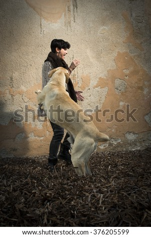 short haired brunette girl is playing with big a white dog wearing a jumper and a pair of jeans - stock photo