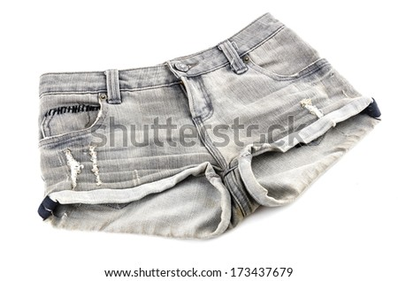 Short jean isolated white background