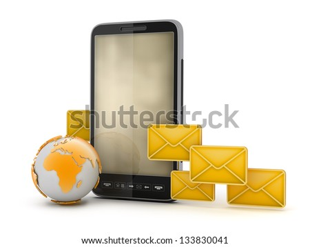 Short Message Service - mobile technology - stock photo