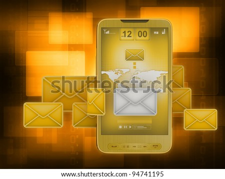 Short Message Service (SMS) & Mobile internet on cell phone - stock photo