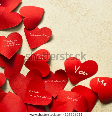 Short note on paper heart, Valentine's day - stock photo