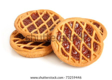 Short pies with cherry jam on a white background - stock photo