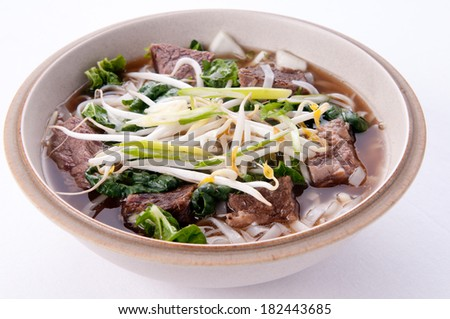short rib beef pho, a delicous vietnamese dish - stock photo