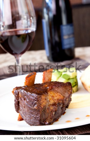 Short rib, cooked to perfection, served with savoury pound cake, avocado cubes, turnip puree and county cider reduction. Paired to perfection with red wine.