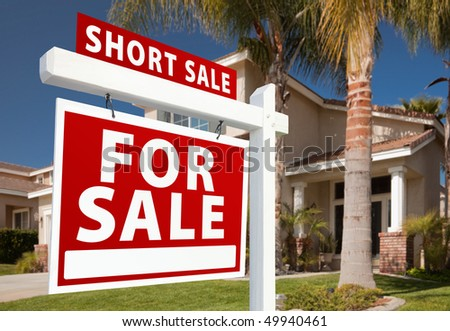 Short Sale Home For Sale Real Estate Sign and House - Left Side. - stock photo