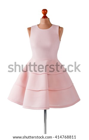 Short salmon dress with folds. Female mannequin in salmon dress. Girl's custom made prom dress. Last summer dress in stock.